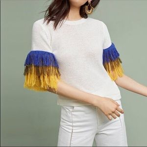 Anthropologie English Factory Fringed Sleeve Top